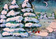 Fir Trees Drawings - A Winter Feast by Mindy Newman