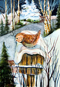 Finch Drawings - A Winter Home by Mindy Newman