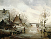 Outside Ice Paintings - A Winter Landscape with Figures Skating by Dutch School