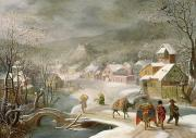 Winter Landscapes Painting Framed Prints - A Winter Landscape with Travellers on a Path Framed Print by Denys van Alsloot