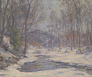 Winter Scene Metal Prints - A Winter Morning  Metal Print by Frank Townsend Hutchens