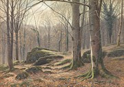 Bare Trees Painting Posters - A Winter Morning Poster by James Thomas Watts
