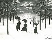 Priests Paintings - A Winter Scene by Eric de Kolb
