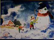 Cloudy Day Paintings - A Winter Snowman by Bill Joseph  Markowski