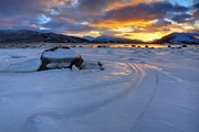 Sunset In Norway Metal Prints - A Winter Sunset Over Tjeldsundet Metal Print by Arild Heitmann