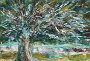 Lone Tree Painting Prints - A Winter Tree Print by Mary Wolf