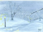 Robert Meszaros Painting Posters - A Winter Walk... Poster by Robert Meszaros