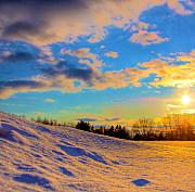 Snow Scenes Mixed Media Metal Prints - A winters sunset  Metal Print by Robert Pearson