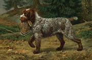 Full-length Portrait Prints - A Wire-haired Pointing Griffon Holds Print by Walter A. Weber