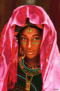 Bride And Groom Paintings - A Wodaabe Bride by Jann Paxton