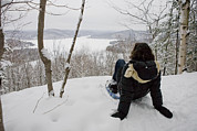 Quebec Art - A Woman Admires A View On A Winter Day by Taylor S. Kennedy