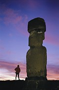 Large Scale Posters - A Woman And A Monolithic Statue Poster by Richard Nowitz