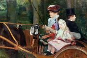 Drive In Paintings - A woman and child in the driving seat by Mary Stevenson Cassatt