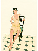 Tiled Digital Art Prints - A Woman Balanced On A Chair Print by Hana Asami