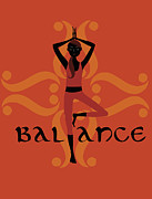 Meditating Digital Art Posters - A Woman In A Yoga Pose And The Word Balance Poster by Teresa Woo-Murray