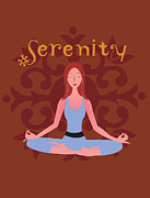 Meditating Digital Art Posters - A Woman In A Yoga Pose And The Word Serenity Poster by Teresa Woo-Murray