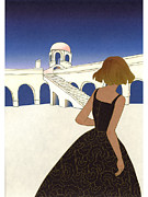 A Woman In Front Of A Grecian Building Print by Hana Asami