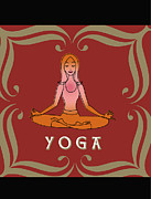 Meditating Digital Art Posters - A Woman In The Lotus Position And The Word Yoga Poster by Teresa Woo-Murray