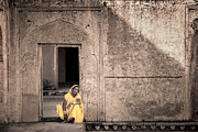 Mostafa Moftah Framed Prints - A Woman in Yellow Dress Framed Print by Mostafa Moftah