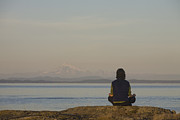 Strait Of Juan De Fuca Posters - A Woman Meditates Facing The Ocean Poster by Taylor S. Kennedy