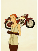 Woman Of Color Posters - A Woman Standing In Front Of A Motorbike Poster by Hana Asami