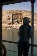 Nubia Acrylic Prints - A Woman Watches The Temple Abu Simbel Acrylic Print by Taylor S. Kennedy