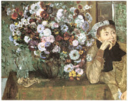 Portrait Of A Woman Posters - A Woman with Chrysanthemums Poster by Edgar Degas