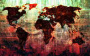 Abstract Map Prints - A Wonderful World Print by Adam Vance