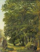 Wooded Paintings - A Wooded Landscape  by Ramsay Richard Reinagle