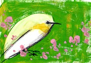 Green Color Art - A Yellow Bird And Flowers Against A Green Background by Mamiko Ohashi
