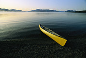 Chromatic Contrasts Prints - A Yellow Canoe On The Shore Of A Calm Print by Michael Melford