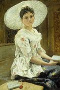Woman In A Dress Metal Prints - A Young Beauty in a White Hat  Metal Print by Franz Xaver Simm