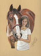Equine Pastels Framed Prints - A young Girl and her Horse Framed Print by Terry Kirkland Cook