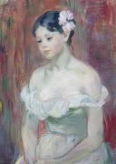 Morisot; Berthe (1841-95) Painting Metal Prints - A Young Girl Metal Print by Berthe Morisot