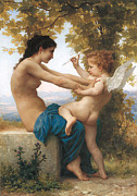 Eros Paintings - A Young Girl Defending Herself Against Eros by William-Adolphe Bouguereau