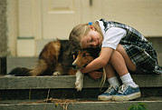 Sheepdogs Art - A Young Girl Hugs Her Dog, Prairie by Joel Sartore