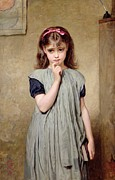 Feather Pen Prints - A Young Girl in the Classroom Print by Charles Sillem Lidderdale