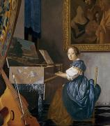 Young Painting Framed Prints - A Young Lady Seated at a Virginal Framed Print by Jan Vermeer