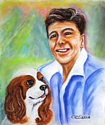 Reagan Pastels Framed Prints - A Young Ronald Reagan Framed Print by Carol Allen Anfinsen