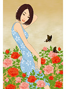 Hand In Hair Posters - A Young Woman Standing In A Field Of Flowers Poster by Onion