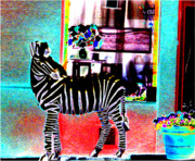 Fantastical Digital Art Framed Prints - A Zebra In Soho Framed Print by Ronnie Caplan