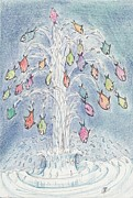 Waterfall Drawings Prints - A30 Flying Fish Print by Charles Cater