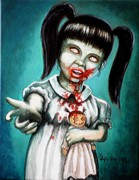 Little Girl Metal Prints - Aaarrgg Thats Zombie talk for Mommy Metal Print by Al  Molina