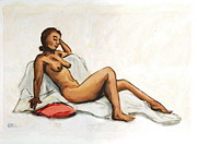 Nude Paintings - aAnna Female Nude semi reclining by G Linsenmayer