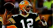 Packers Posters - Aaron Rodgers - Green Bay Packers Poster by Paul Ward