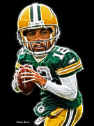 Nfl Posters - Aaron Rodgers Poster by Stephen Younts