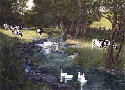 Geese Paintings - Aarons Chore by Tom Wooldridge