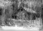 Log Cabins Art - Abandoned Barn Standing In Snow by C Wayne Hennebert