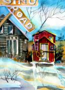 Barn Drawings Posters - Abandoned Caboose Poster by Mindy Newman