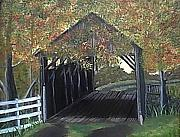 Covered Bridge Painting Metal Prints - Abandoned Covered Bridge  Metal Print by Mary Kaser